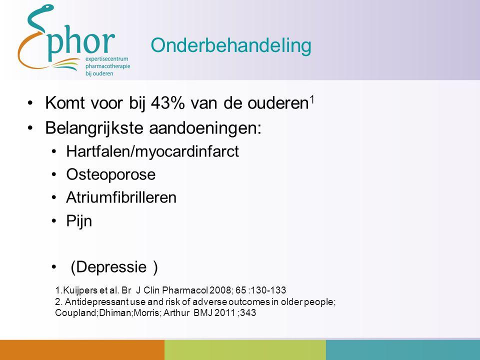 Onderbehandeling Komt voor bij 43% van de ouderen 1 Belangrijkste aandoeningen: Hartfalen/myocardinfarct Osteoporose Atriumfibrilleren Pijn (Depressie