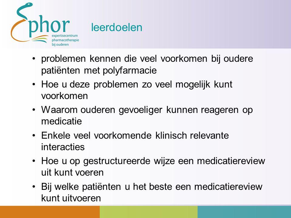 leerdoelen problemen kennen die veel voorkomen bij oudere patiënten met polyfarmacie Hoe u deze problemen zo veel mogelijk kunt voorkomen Waarom ouder