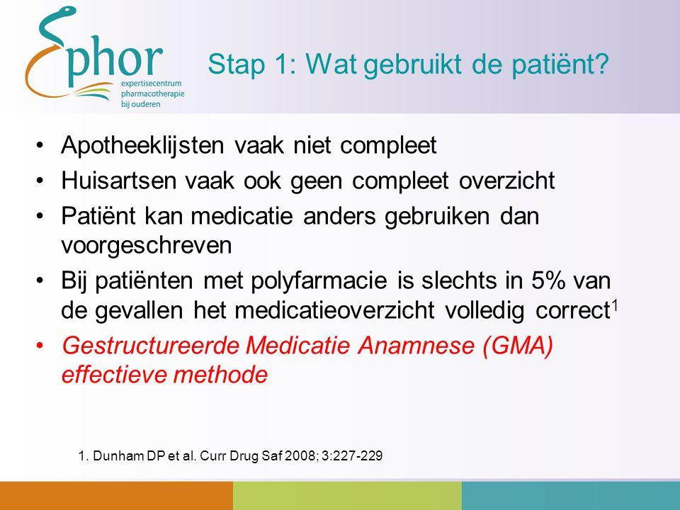Stap 1: Wat gebruikt de patiënt? Apotheeklijsten vaak niet compleet Huisartsen vaak ook geen compleet overzicht Patiënt kan medicatie anders gebruiken