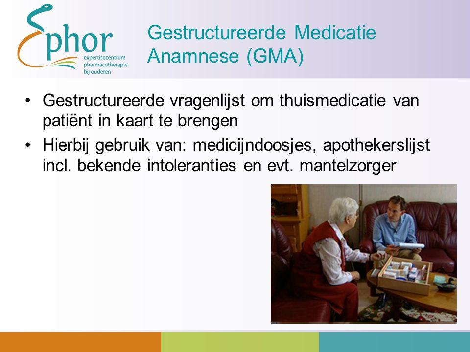 Gestructureerde Medicatie Anamnese (GMA) Gestructureerde vragenlijst om thuismedicatie van patiënt in kaart te brengen Hierbij gebruik van: medicijndo