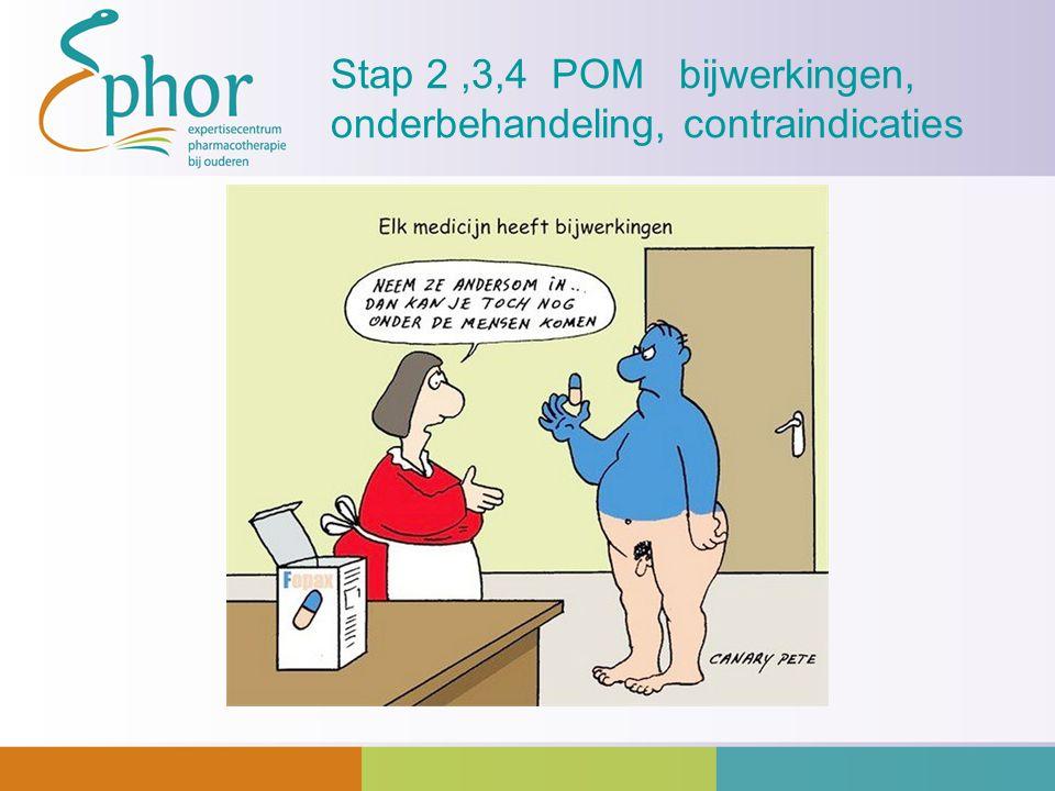 Stap 2,3,4 POM bijwerkingen, onderbehandeling, contraindicaties