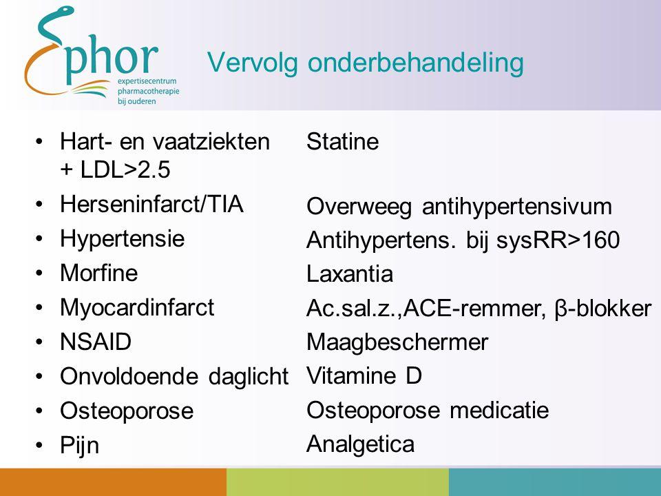 Vervolg onderbehandeling Hart- en vaatziekten + LDL>2.5 Herseninfarct/TIA Hypertensie Morfine Myocardinfarct NSAID Onvoldoende daglicht Osteoporose Pi