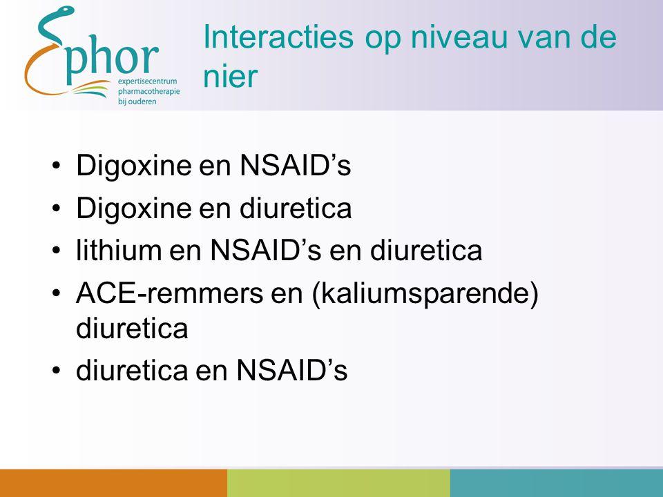 Interacties op niveau van de nier Digoxine en NSAID's Digoxine en diuretica lithium en NSAID's en diuretica ACE-remmers en (kaliumsparende) diuretica