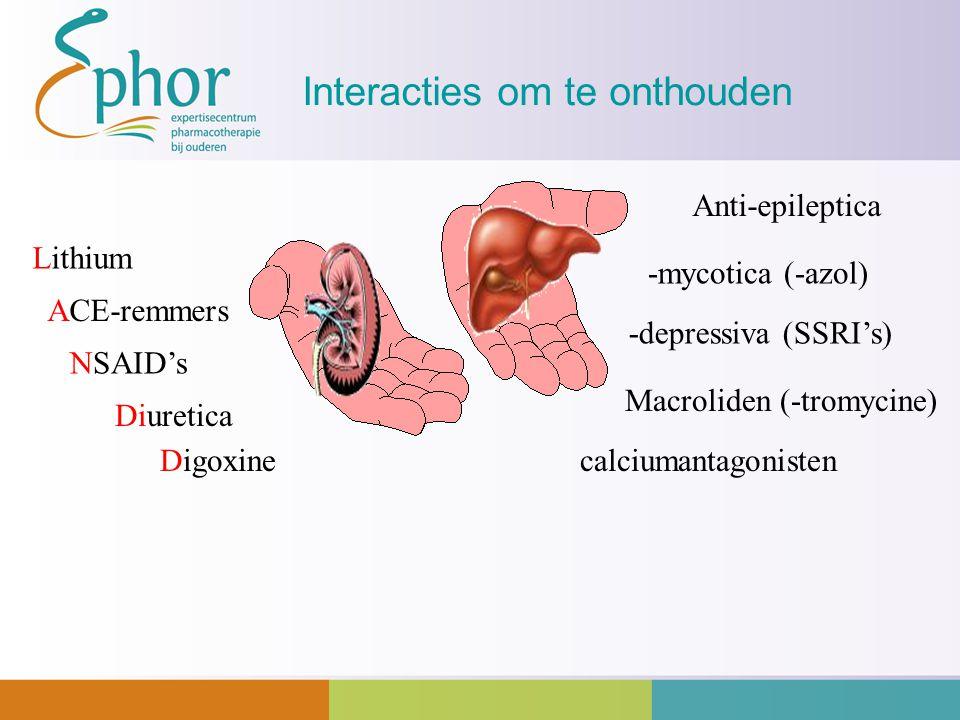 Interacties om te onthouden Digoxine Lithium calciumantagonisten -depressiva (SSRI's) -mycotica (-azol) Macroliden (-tromycine) NSAID's Anti-epileptic