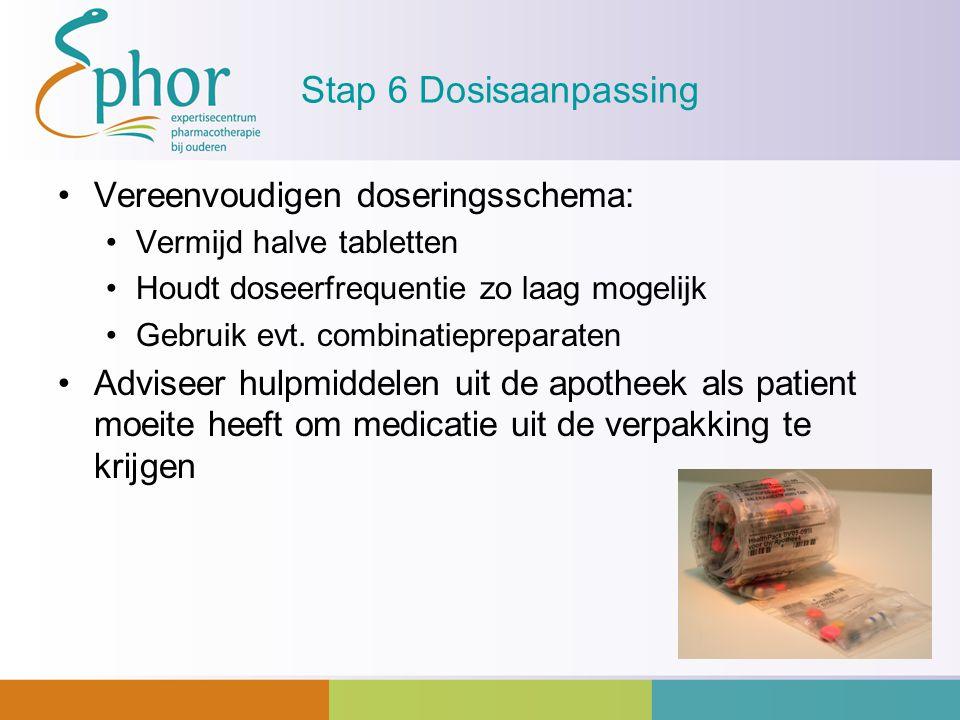 Stap 6 Dosisaanpassing Vereenvoudigen doseringsschema: Vermijd halve tabletten Houdt doseerfrequentie zo laag mogelijk Gebruik evt. combinatiepreparat