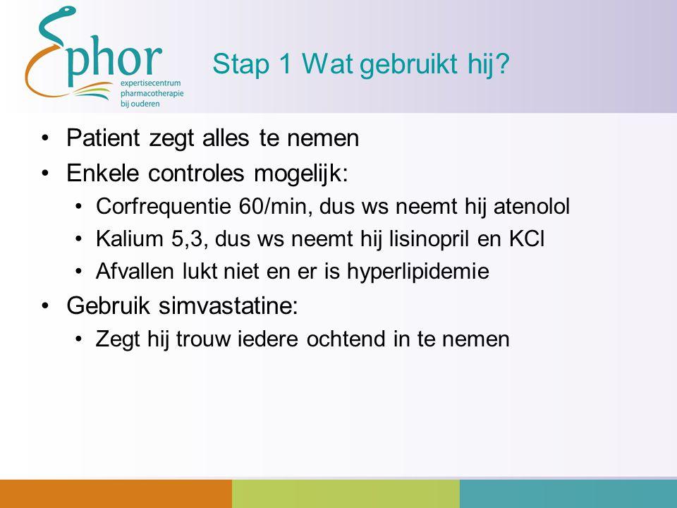 Stap 1 Wat gebruikt hij? Patient zegt alles te nemen Enkele controles mogelijk: Corfrequentie 60/min, dus ws neemt hij atenolol Kalium 5,3, dus ws nee