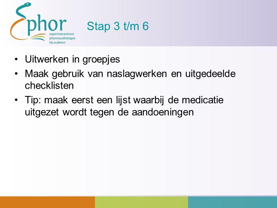 Stap 3 t/m 6 Uitwerken in groepjes Maak gebruik van naslagwerken en uitgedeelde checklisten Tip: maak eerst een lijst waarbij de medicatie uitgezet wo