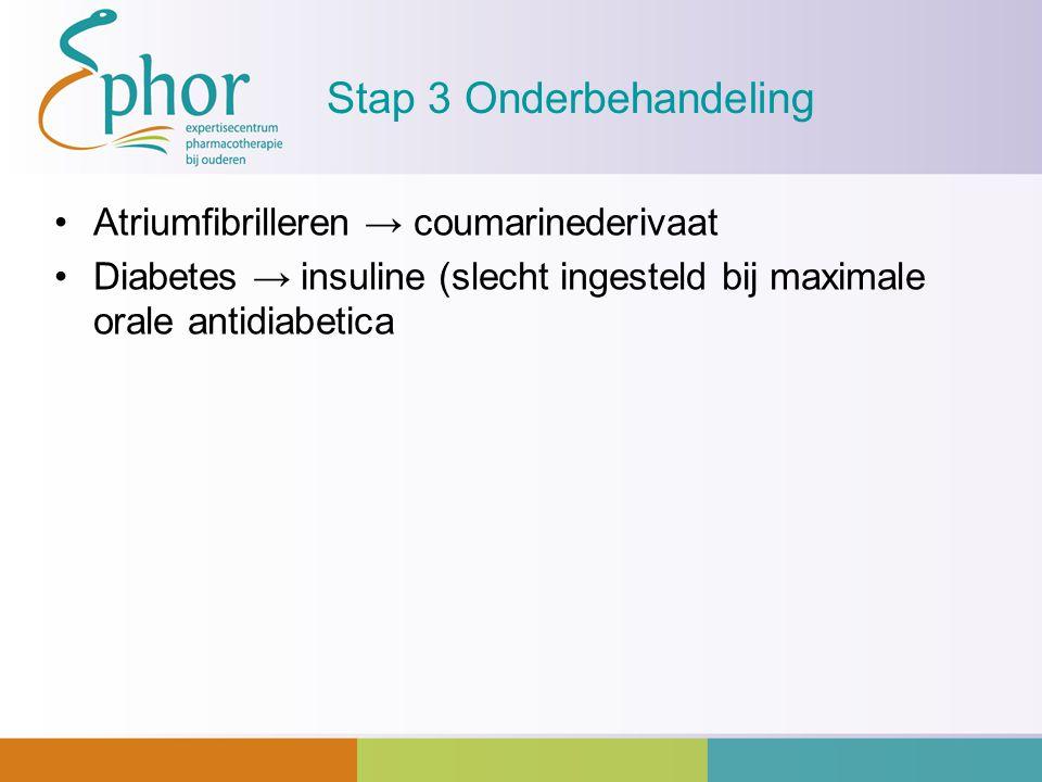 Stap 3 Onderbehandeling Atriumfibrilleren → coumarinederivaat Diabetes → insuline (slecht ingesteld bij maximale orale antidiabetica