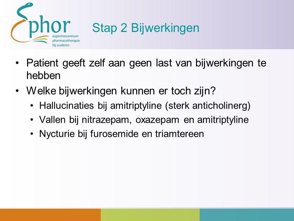 Stap 2 Bijwerkingen Patient geeft zelf aan geen last van bijwerkingen te hebben Welke bijwerkingen kunnen er toch zijn? Hallucinaties bij amitriptylin