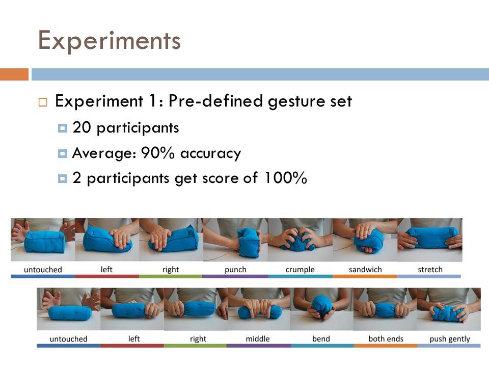 Experiments  Experiment 1: Pre-defined gesture set  20 participants  Average: 90% accuracy  2 participants get score of 100%