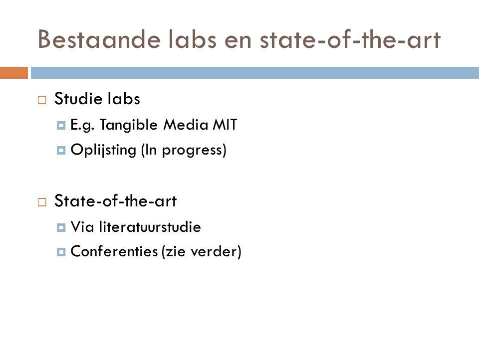 Bestaande labs en state-of-the-art  Studie labs  E.g.