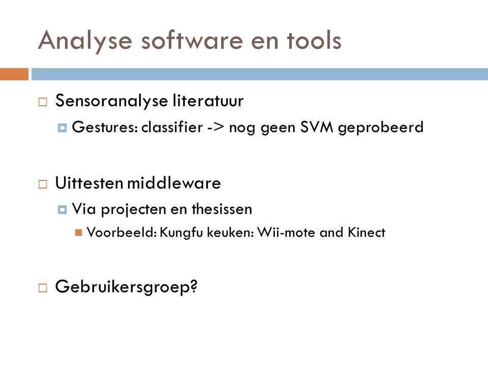Analyse software en tools  Sensoranalyse literatuur  Gestures: classifier -> nog geen SVM geprobeerd  Uittesten middleware  Via projecten en thesissen Voorbeeld: Kungfu keuken: Wii-mote and Kinect  Gebruikersgroep