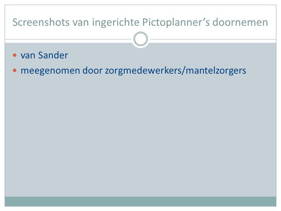 Screenshots van ingerichte Pictoplanner's doornemen van Sander meegenomen door zorgmedewerkers/mantelzorgers