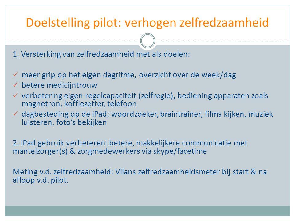 Doelstelling pilot: verhogen zelfredzaamheid 1. Versterking van zelfredzaamheid met als doelen: meer grip op het eigen dagritme, overzicht over de wee