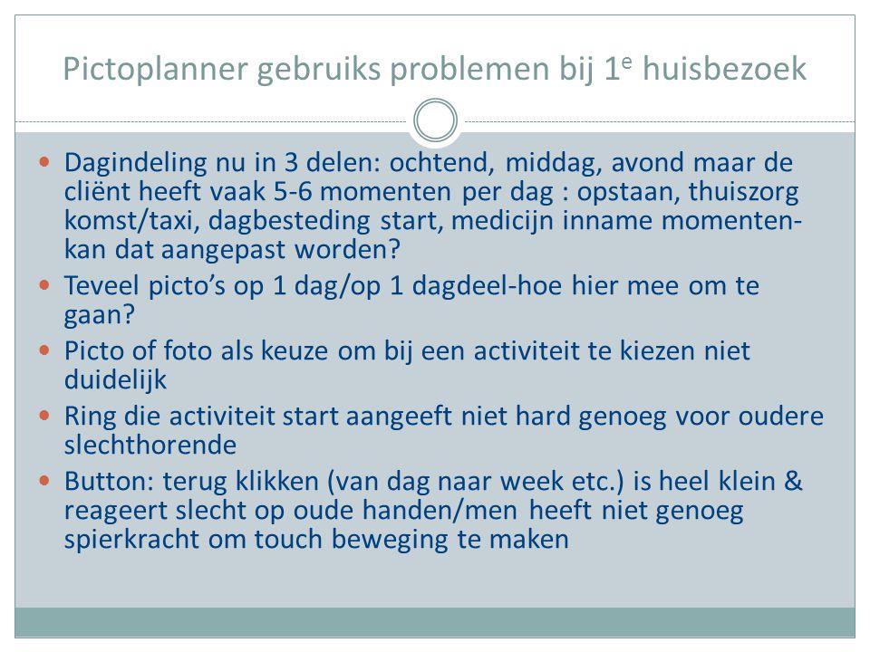 Pictoplanner gebruiks problemen bij 1 e huisbezoek Dagindeling nu in 3 delen: ochtend, middag, avond maar de cliënt heeft vaak 5-6 momenten per dag :