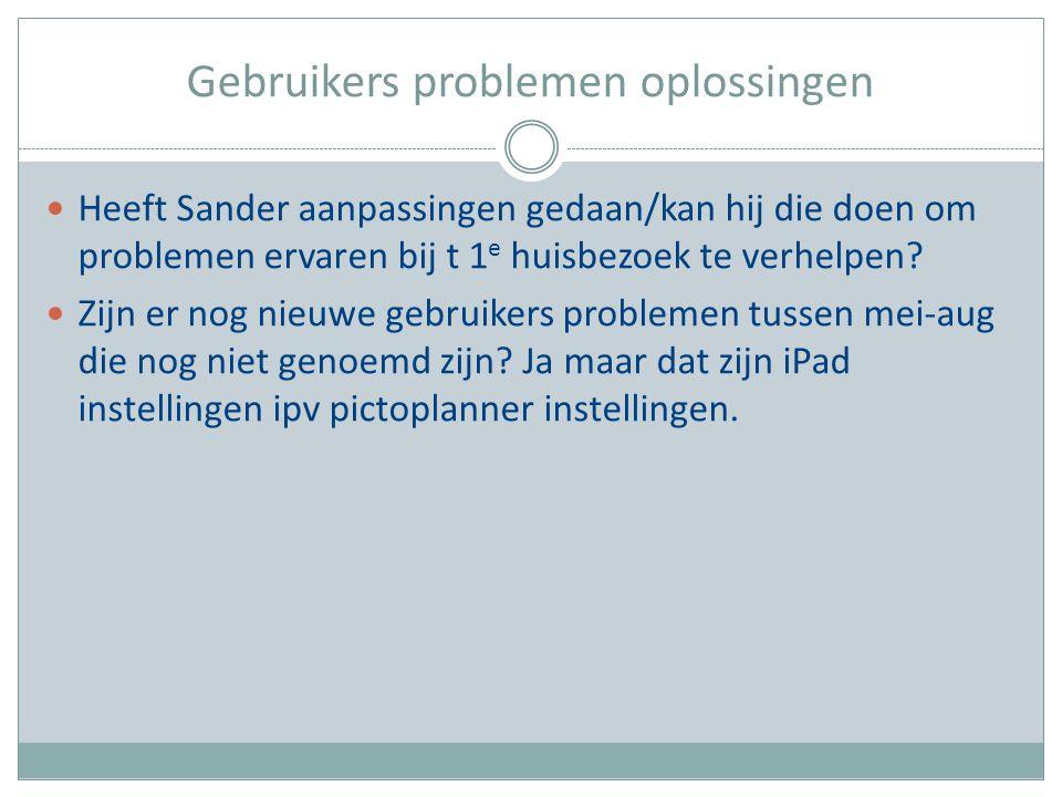 Gebruikers problemen oplossingen Heeft Sander aanpassingen gedaan/kan hij die doen om problemen ervaren bij t 1 e huisbezoek te verhelpen? Zijn er nog