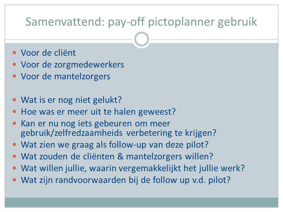 Samenvattend: pay-off pictoplanner gebruik Voor de cliënt Voor de zorgmedewerkers Voor de mantelzorgers Wat is er nog niet gelukt? Hoe was er meer uit