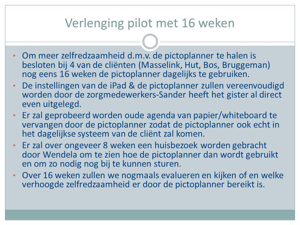 Verlenging pilot met 16 weken Om meer zelfredzaamheid d.m.v. de pictoplanner te halen is besloten bij 4 van de cliënten (Masselink, Hut, Bos, Bruggema