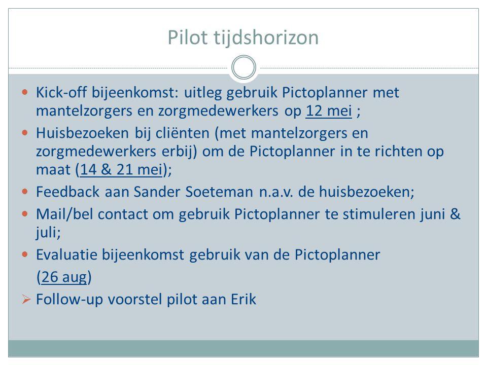 Pilot tijdshorizon Kick-off bijeenkomst: uitleg gebruik Pictoplanner met mantelzorgers en zorgmedewerkers op 12 mei ; Huisbezoeken bij cliënten (met m