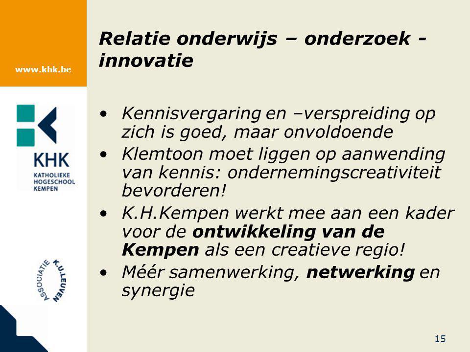 www.khk.be Relatie onderwijs – onderzoek - innovatie Kennisvergaring en –verspreiding op zich is goed, maar onvoldoende Klemtoon moet liggen op aanwen