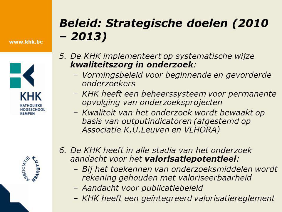 www.khk.be Beleid: Strategische doelen (2010 – 2013) 5.De KHK implementeert op systematische wijze kwaliteitszorg in onderzoek: –Vormingsbeleid voor b