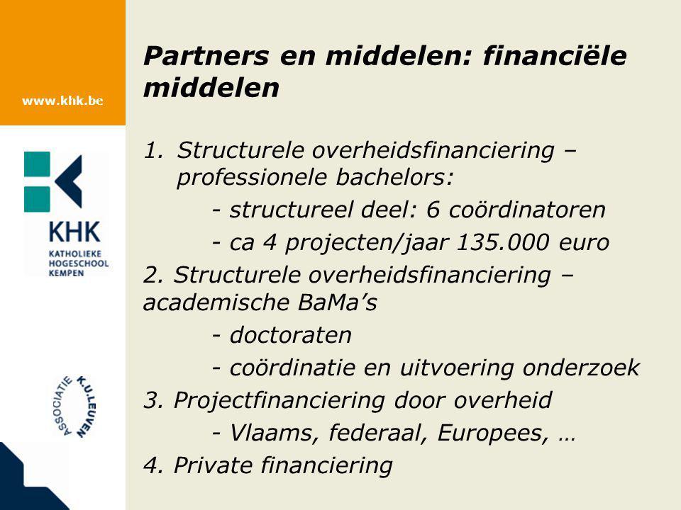 www.khk.be Partners en middelen: financiële middelen 1.Structurele overheidsfinanciering – professionele bachelors: - structureel deel: 6 coördinatore