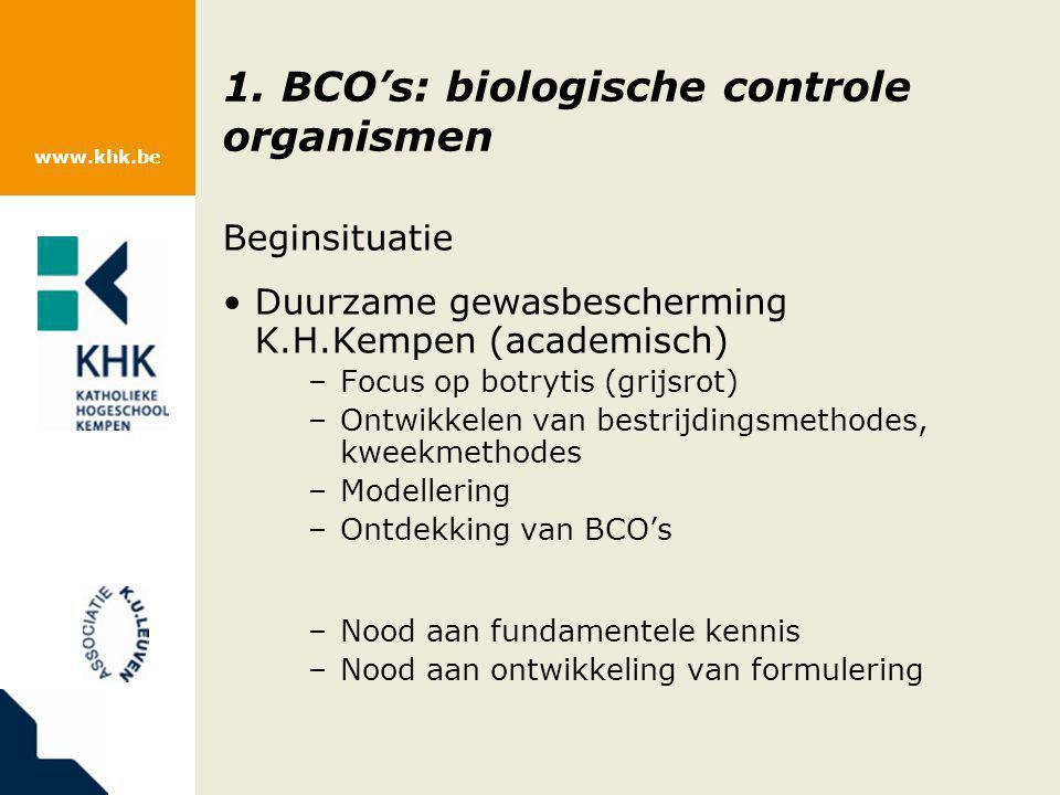 www.khk.be 1. BCO's: biologische controle organismen Beginsituatie Duurzame gewasbescherming K.H.Kempen (academisch) –Focus op botrytis (grijsrot) –On