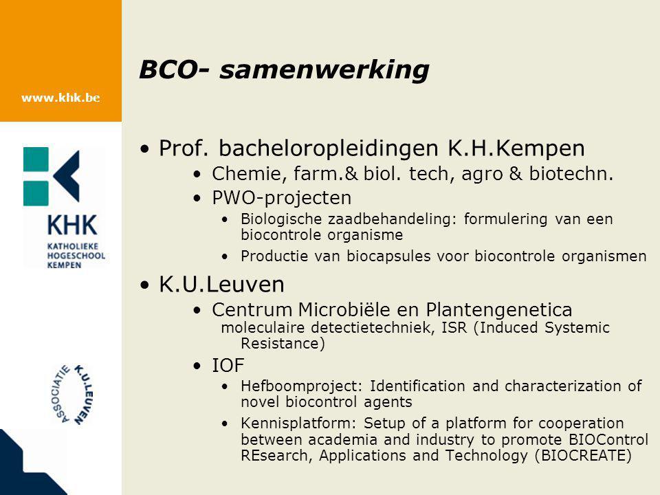 www.khk.be BCO- samenwerking Prof. bacheloropleidingen K.H.Kempen Chemie, farm.& biol. tech, agro & biotechn. PWO-projecten Biologische zaadbehandelin