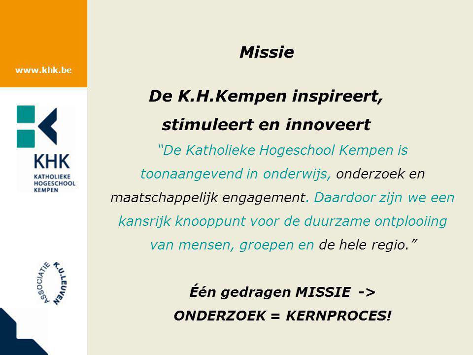 """www.khk.be Missie De K.H.Kempen inspireert, stimuleert en innoveert """"De Katholieke Hogeschool Kempen is toonaangevend in onderwijs, onderzoek en maats"""