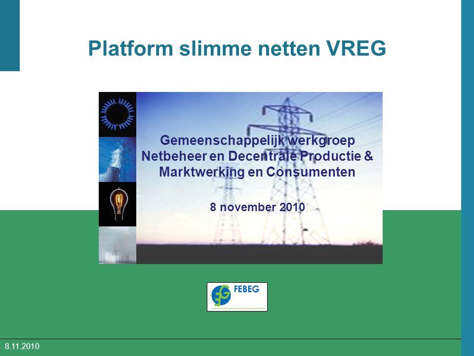 Platform slimme netten VREG Gemeenschappelijk werkgroep Netbeheer en Decentrale Productie & Marktwerking en Consumenten 8 november 2010 8.11.2010