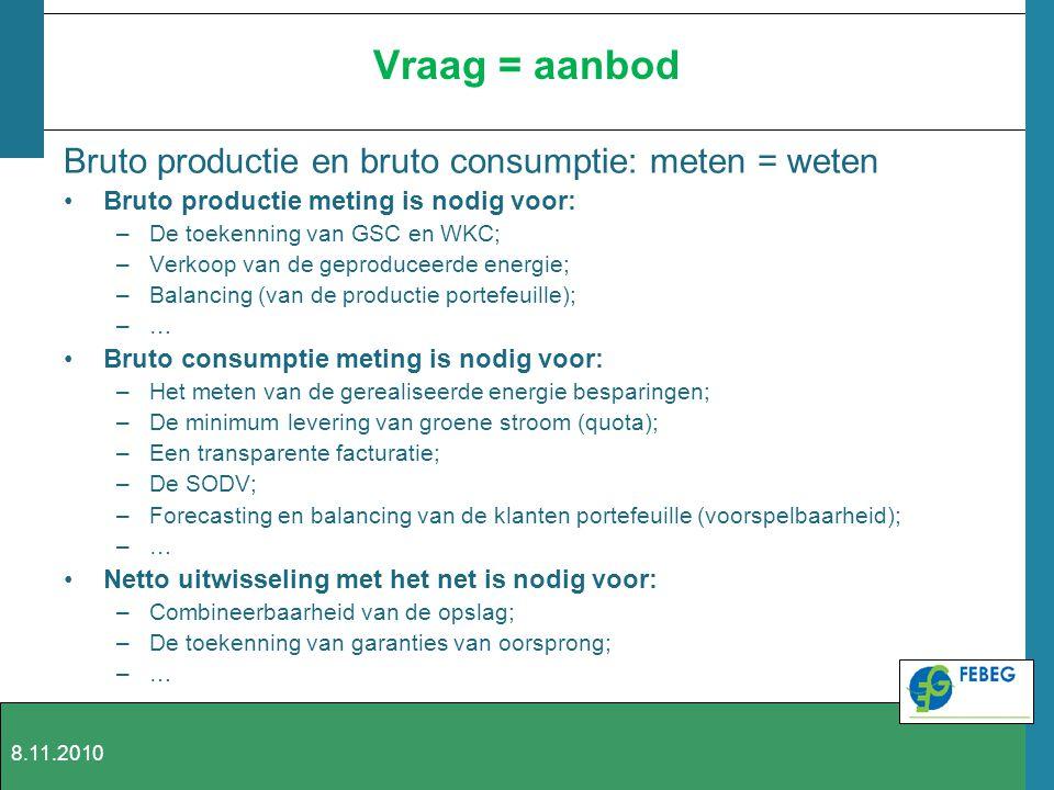 Vraag = aanbod Bruto productie en bruto consumptie: meten = weten Bruto productie meting is nodig voor: –De toekenning van GSC en WKC; –Verkoop van de