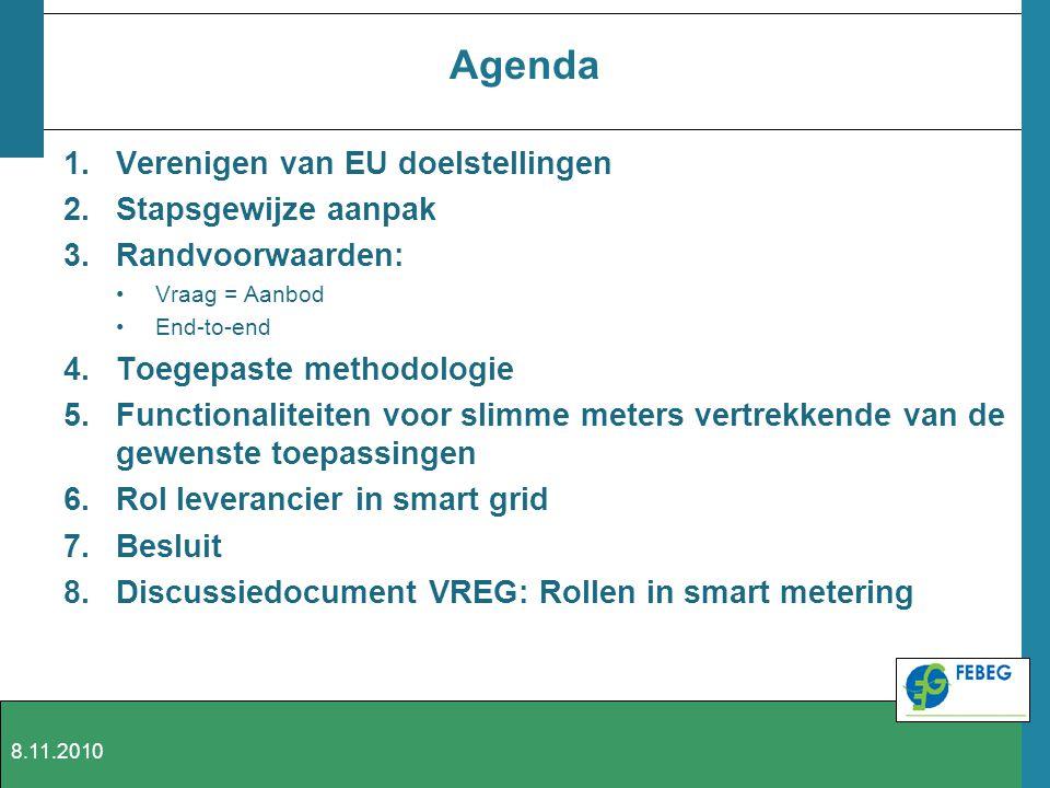 Agenda 1.Verenigen van EU doelstellingen 2.Stapsgewijze aanpak 3.Randvoorwaarden: Vraag = Aanbod End-to-end 4.Toegepaste methodologie 5.Functionalitei