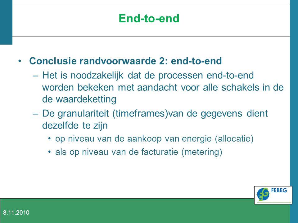 End-to-end Conclusie randvoorwaarde 2: end-to-end –Het is noodzakelijk dat de processen end-to-end worden bekeken met aandacht voor alle schakels in d