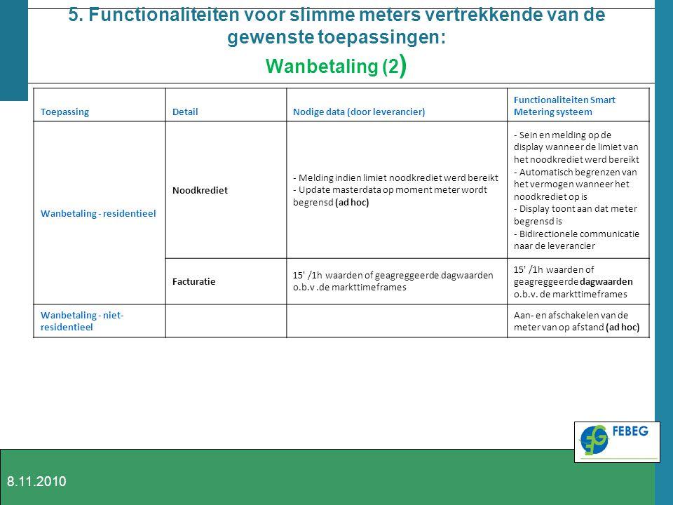 5. Functionaliteiten voor slimme meters vertrekkende van de gewenste toepassingen: Wanbetaling (2 ) ToepassingDetailNodige data (door leverancier) Fun