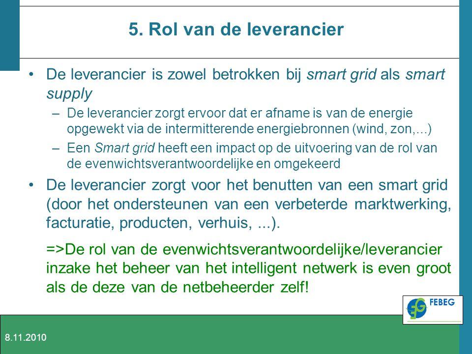 5. Rol van de leverancier De leverancier is zowel betrokken bij smart grid als smart supply –De leverancier zorgt ervoor dat er afname is van de energ