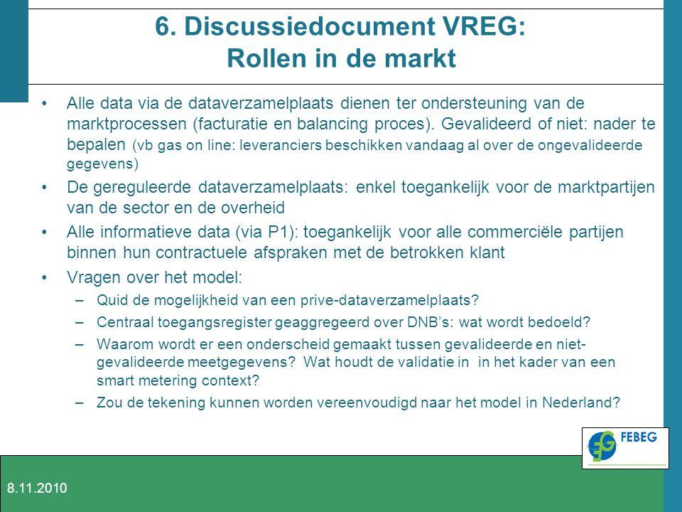 6. Discussiedocument VREG: Rollen in de markt Alle data via de dataverzamelplaats dienen ter ondersteuning van de marktprocessen (facturatie en balanc