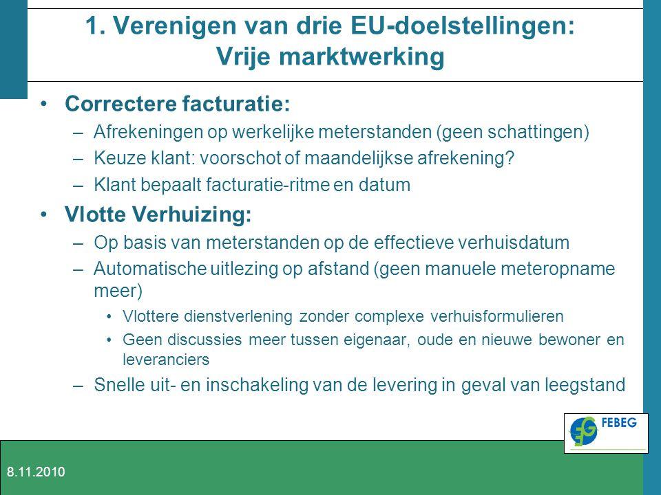 1. Verenigen van drie EU-doelstellingen: Vrije marktwerking Correctere facturatie: –Afrekeningen op werkelijke meterstanden (geen schattingen) –Keuze