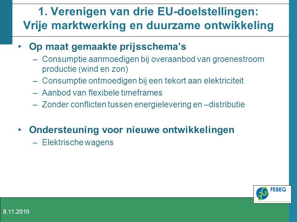 1. Verenigen van drie EU-doelstellingen: Vrije marktwerking en duurzame ontwikkeling Op maat gemaakte prijsschema's –Consumptie aanmoedigen bij overaa