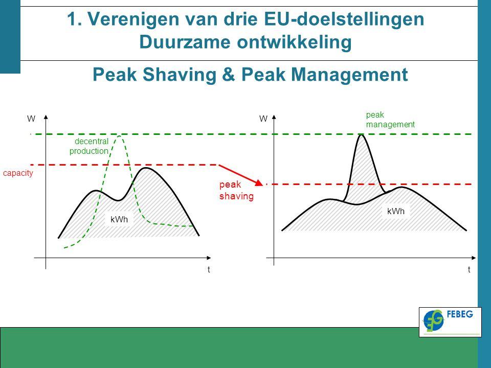 1. Verenigen van drie EU-doelstellingen Duurzame ontwikkeling WW tt kWh peak shaving capacity decentral production peak management Peak Shaving & Peak