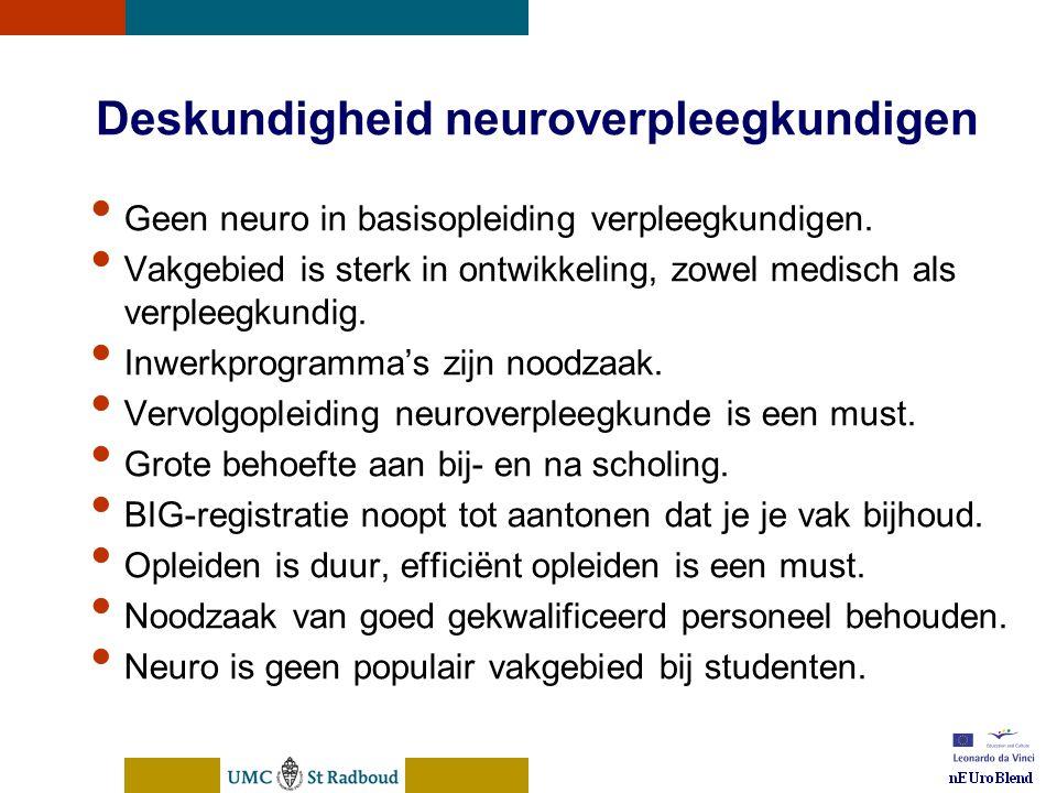 nEUroBlend Presentation, den Bosch, sep 30, 2005 Deskundigheid neuroverpleegkundigen Geen neuro in basisopleiding verpleegkundigen. Vakgebied is sterk