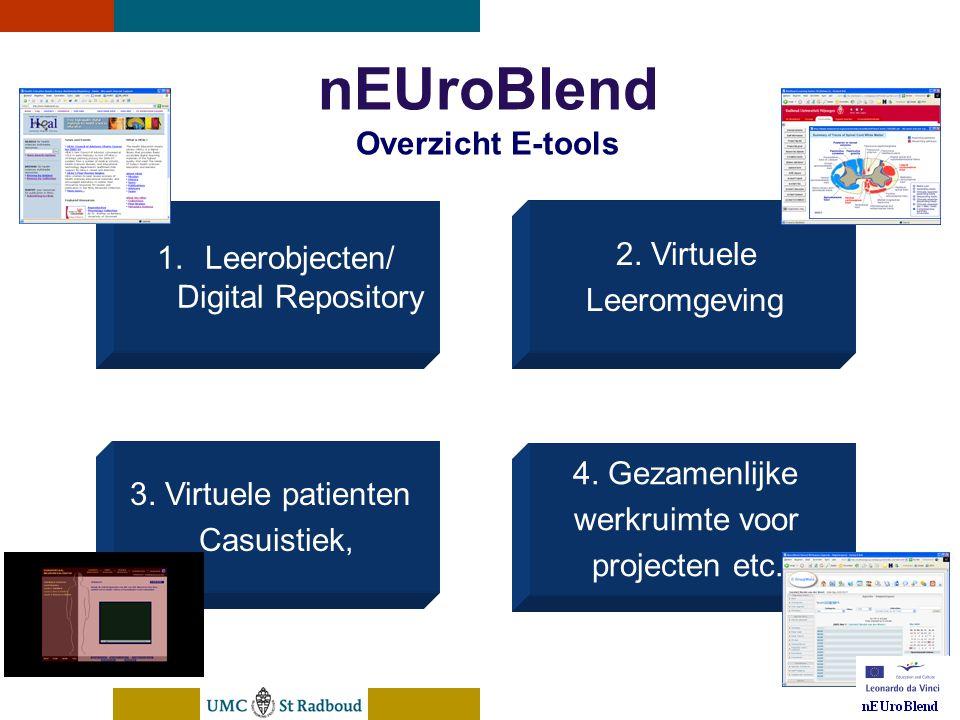 nEUroBlend Presentation, den Bosch, sep 30, 2005 nEUroBlend Overzicht E-tools 2. Virtuele Leeromgeving 3. Virtuele patienten Casuistiek, 4. Gezamenlij