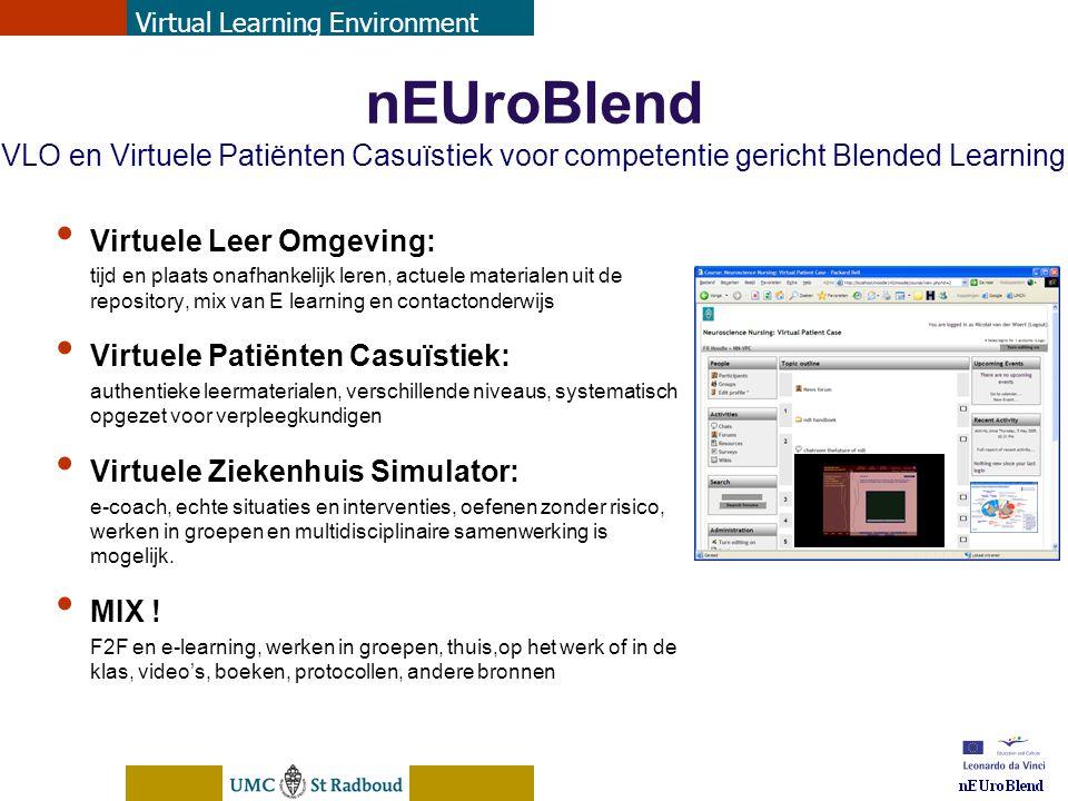 nEUroBlend Presentation, den Bosch, sep 30, 2005 nEUroBlend VLO en Virtuele Patiënten Casuïstiek voor competentie gericht Blended Learning Virtuele Le