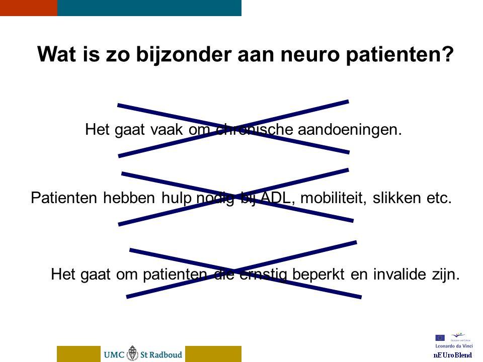 nEUroBlend Presentation, den Bosch, sep 30, 2005 Wat is zo bijzonder aan neuro patienten.