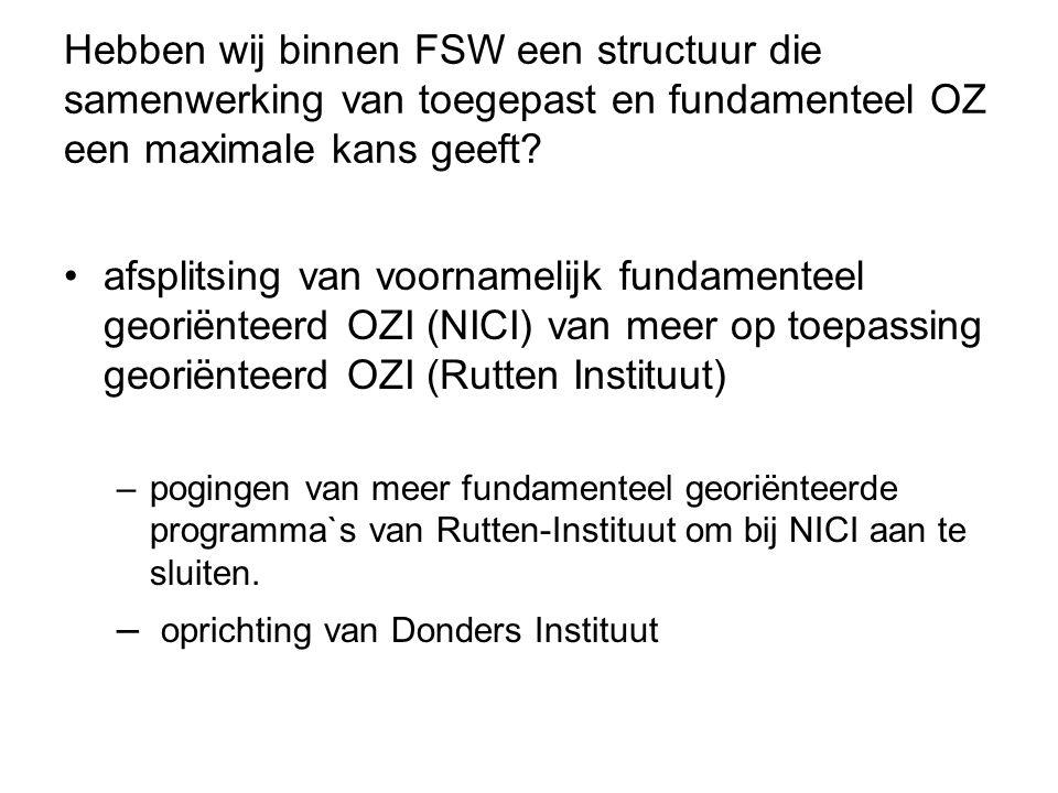 Hebben wij binnen FSW een structuur die samenwerking van toegepast en fundamenteel OZ een maximale kans geeft? afsplitsing van voornamelijk fundamente