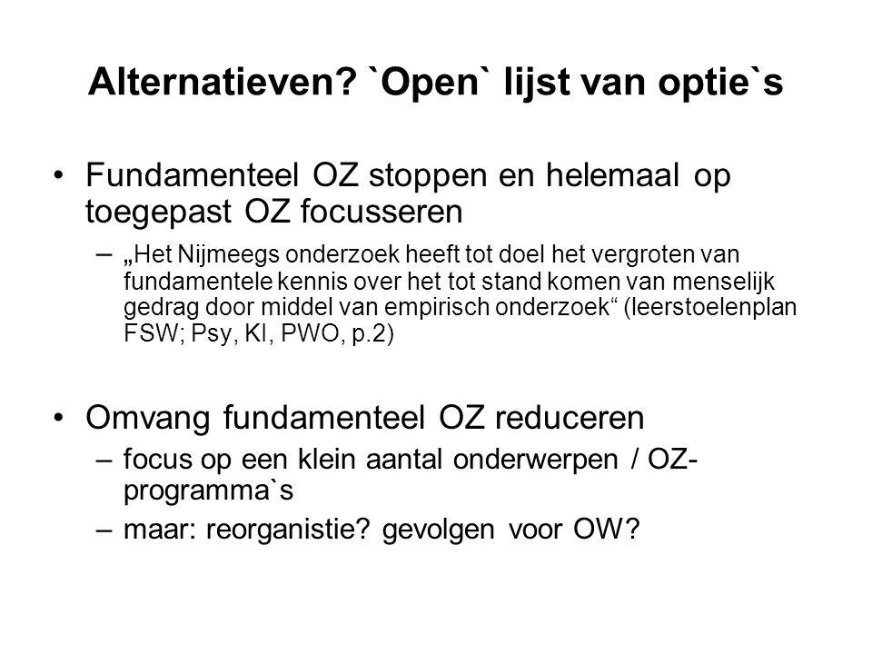 """Alternatieven? `Open` lijst van optie`s Fundamenteel OZ stoppen en helemaal op toegepast OZ focusseren –"""" Het Nijmeegs onderzoek heeft tot doel het ve"""