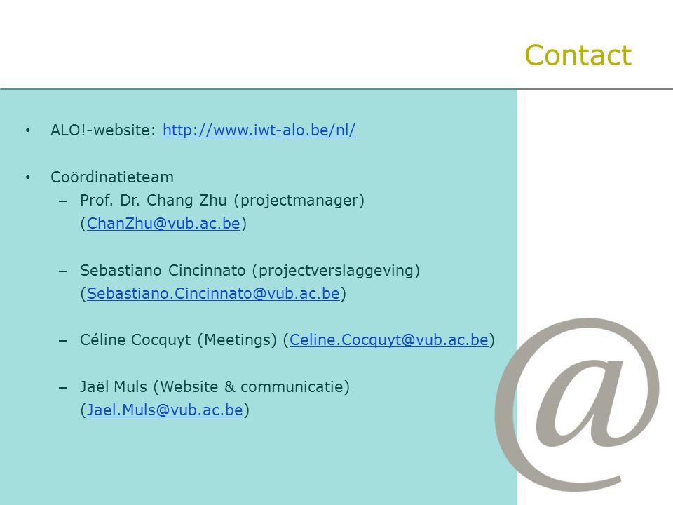 ALO!-website: http://www.iwt-alo.be/nl/http://www.iwt-alo.be/nl/ Coördinatieteam – Prof.