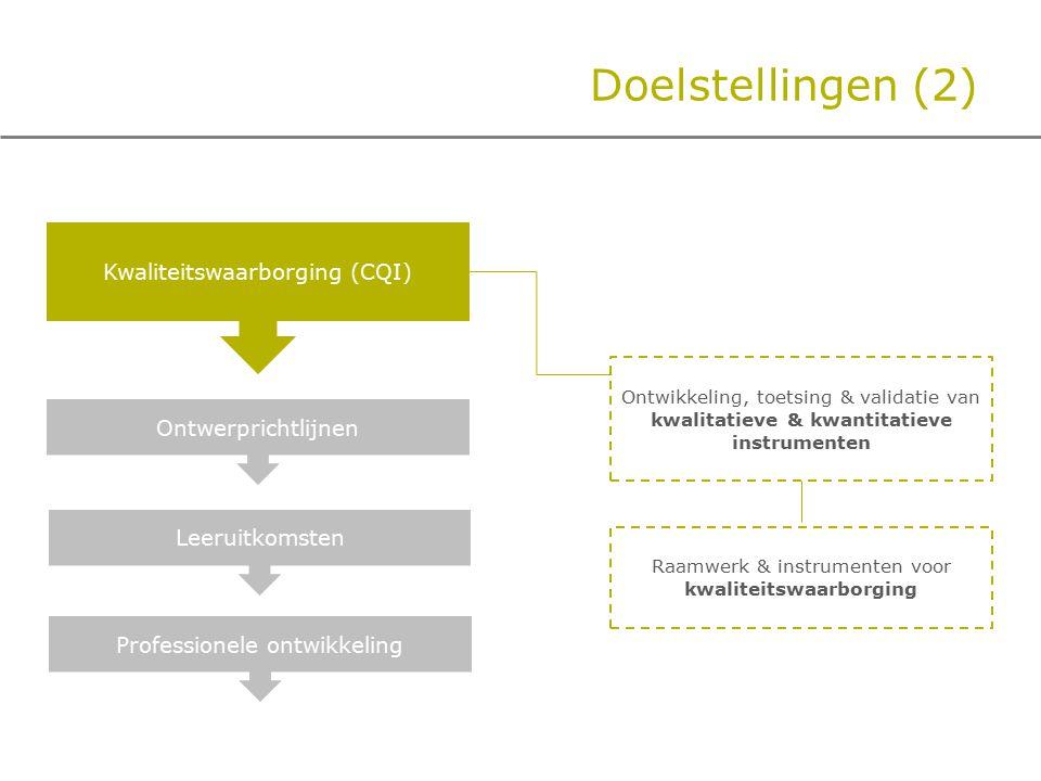 Doelstellingen (2) Kwaliteitswaarborging (CQI) Ontwerprichtlijnen Leeruitkomsten Professionele ontwikkeling Ontwikkeling, toetsing & validatie van kwalitatieve & kwantitatieve instrumenten Raamwerk & instrumenten voor kwaliteitswaarborging
