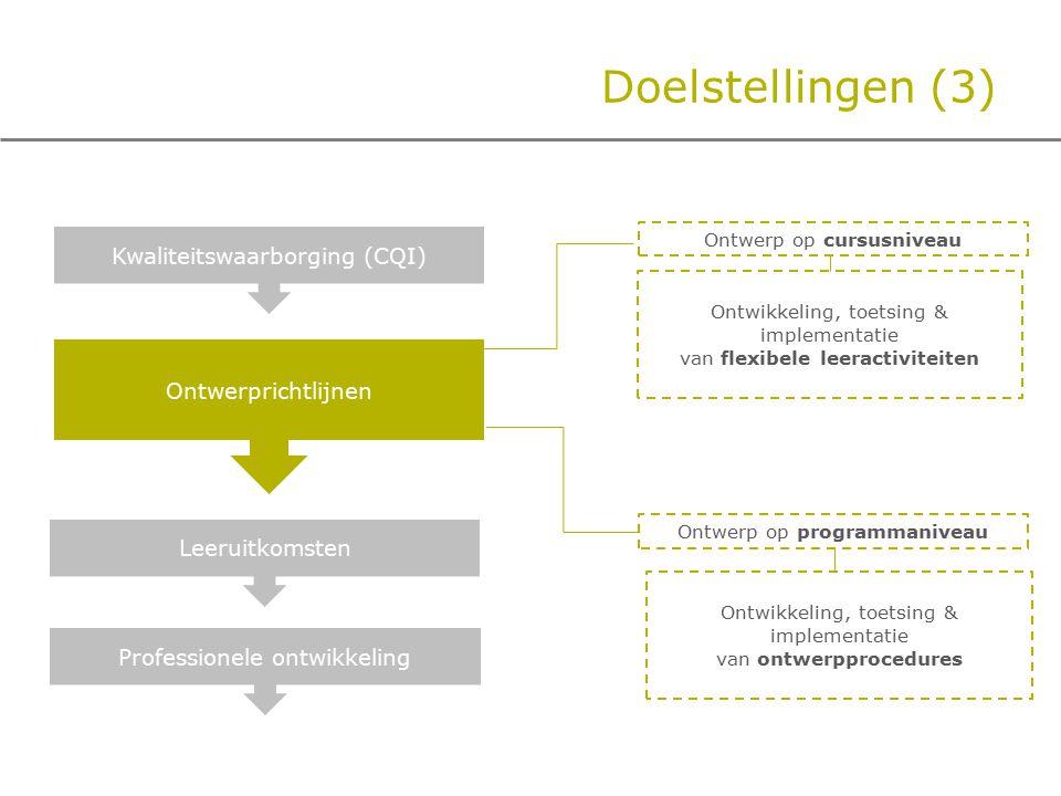 Doelstellingen (3) Ontwerprichtlijnen Leeruitkomsten Professionele ontwikkeling Kwaliteitswaarborging (CQI) Ontwerp op cursusniveau Ontwikkeling, toetsing & implementatie van flexibele leeractiviteiten Ontwerp op programmaniveau Ontwikkeling, toetsing & implementatie van ontwerpprocedures