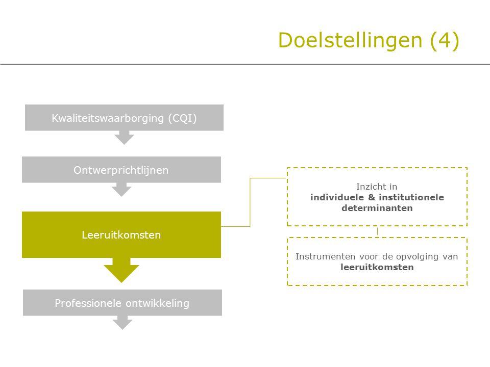 Doelstellingen (4) Ontwerprichtlijnen Professionele ontwikkeling Kwaliteitswaarborging (CQI) Leeruitkomsten Inzicht in individuele & institutionele determinanten Instrumenten voor de opvolging van leeruitkomsten