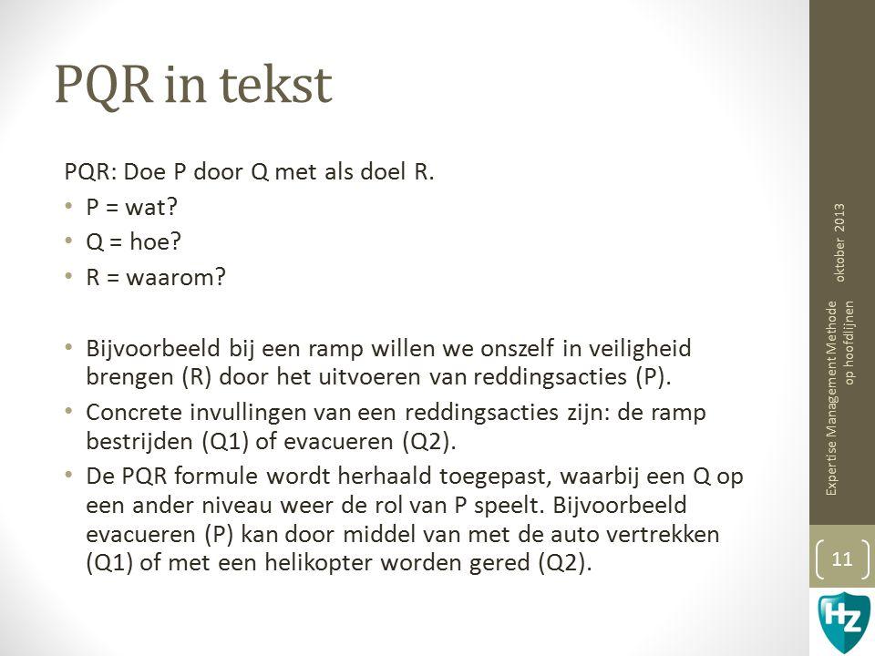 PQR in tekst PQR: Doe P door Q met als doel R.P = wat.